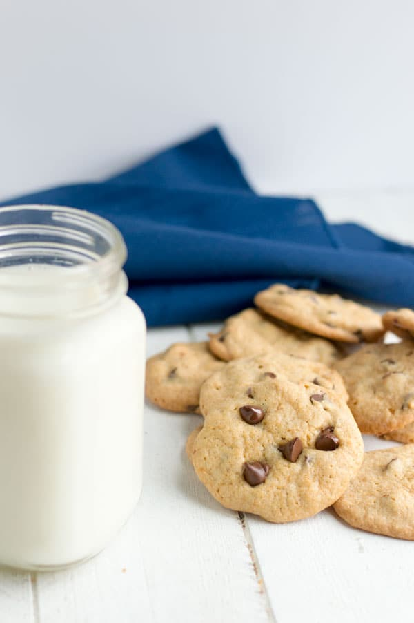 These egg free chocolate chip cookies are perfect for someone with allergies or when you're just fresh out of eggs!