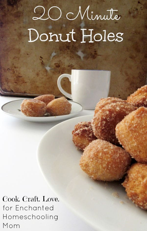 Who doesn't love a donut that goes from idea to your mouth in just 20 minutes?  These delicious donut holes are soft on the inside and crunchy on the outside.  Your kids will be begging for these donut holes every Saturday morning!
