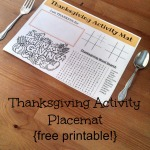 Thanksgiving Activity Placemat {free printable}