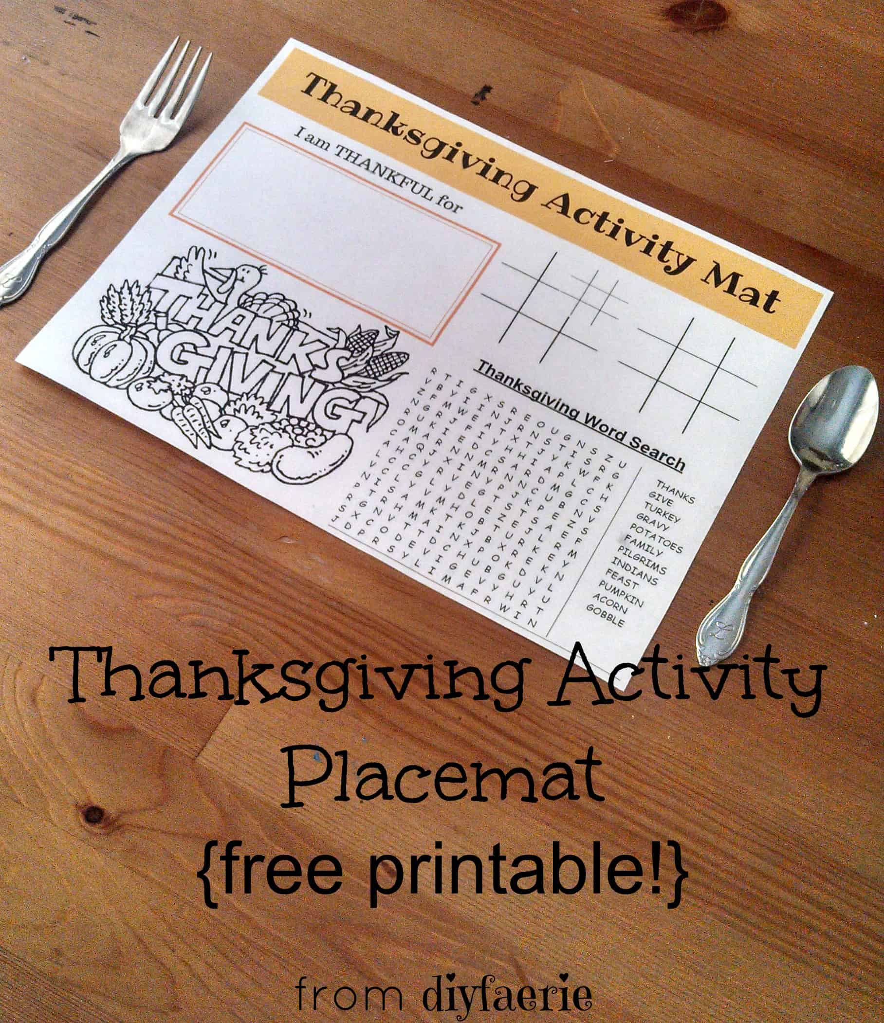 Thanksgiving Activity Placemat | diyfaerie
