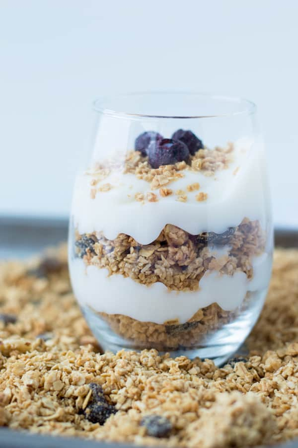 Granola is a great healthy, easy recipe to make breakfast a breeze and keep you full until lunch time! Try this crunchy, simple, and easy honey vanilla granola today!