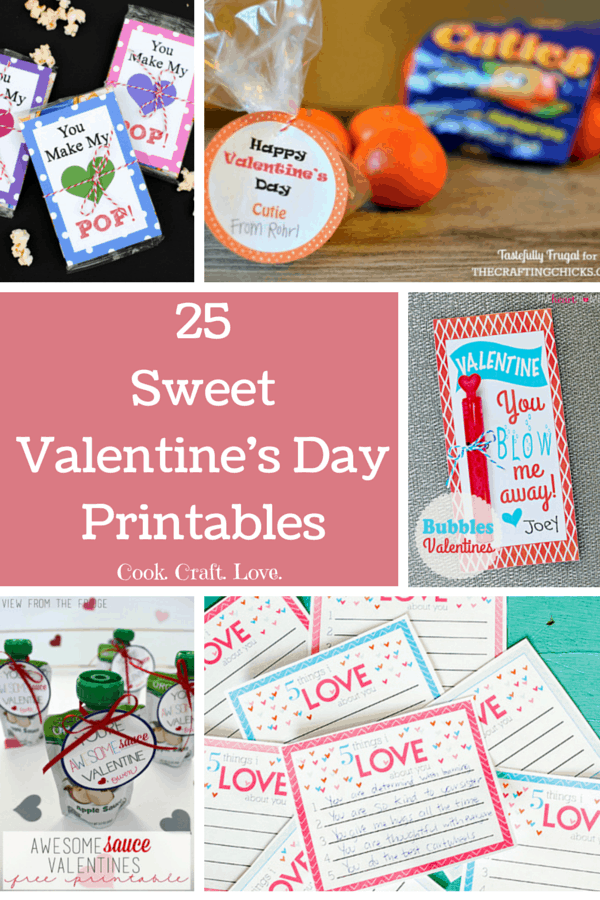 Get your kids ready for their Valentine's Day gift giving parties with this collection of 25 adorable and FREE printables! You'll have to dream up different reasons to use these FREE Valentine's Day printables because you can't pick just one!