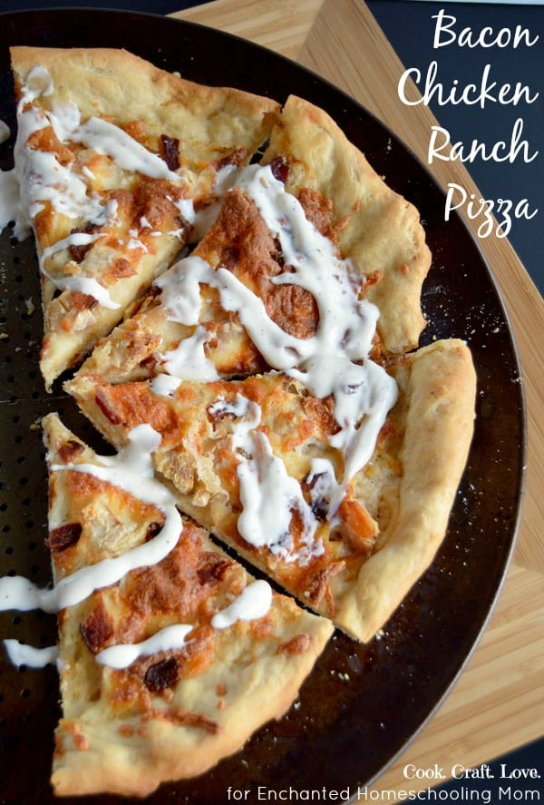 Bacon Chicken Ranch Pizza is one of the best pizzas I've ever made and the dough is probably the easiest part!  I don't think you can ever go wrong when you put bacon on pizza!