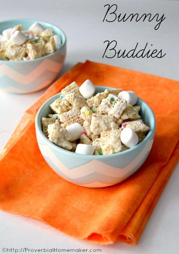Enjoy this fun Easter twist on your favorite muddy buddy or puppy chow recipe!  This Easter snack mix is a great treat to leave as  a surprise for the Easter bunny or to eat by the handful yourself!