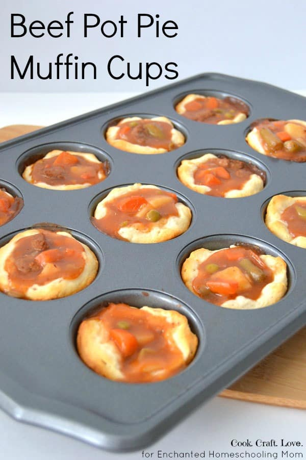 Get the kiddos in the kitchen to help you with these fun bite sized versions of beef pot pie! This is a great recipe to use up leftover stew or biscuit dough for a yummy twist on the classic pot pie.