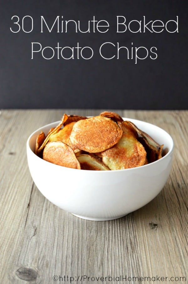 Homemade potato chips are a great way to satisfy the potato chip craving without consuming all those calories and preservatives! And who can argue with a delicious homemade snack in just 30 minutes?