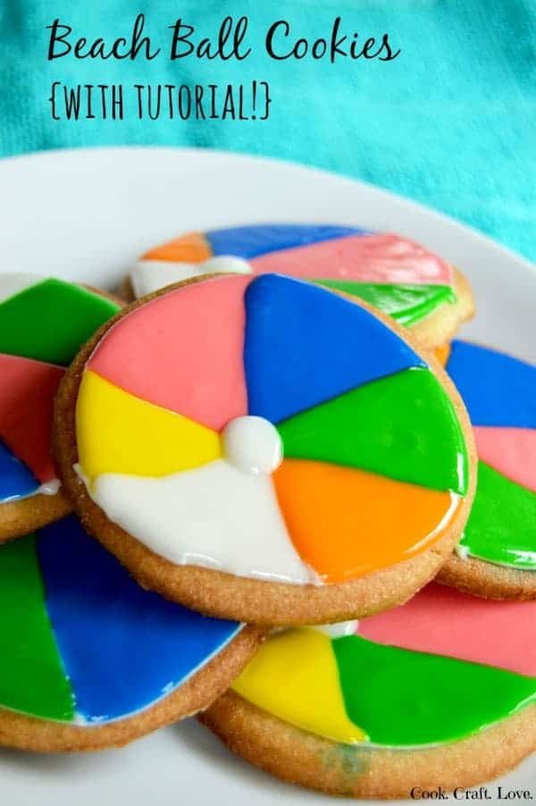 Beach ball cookies are a fun and unique way to celebrate summer! Enjoy these festive beach ball cookies at the end of the school year picnic or by the pool