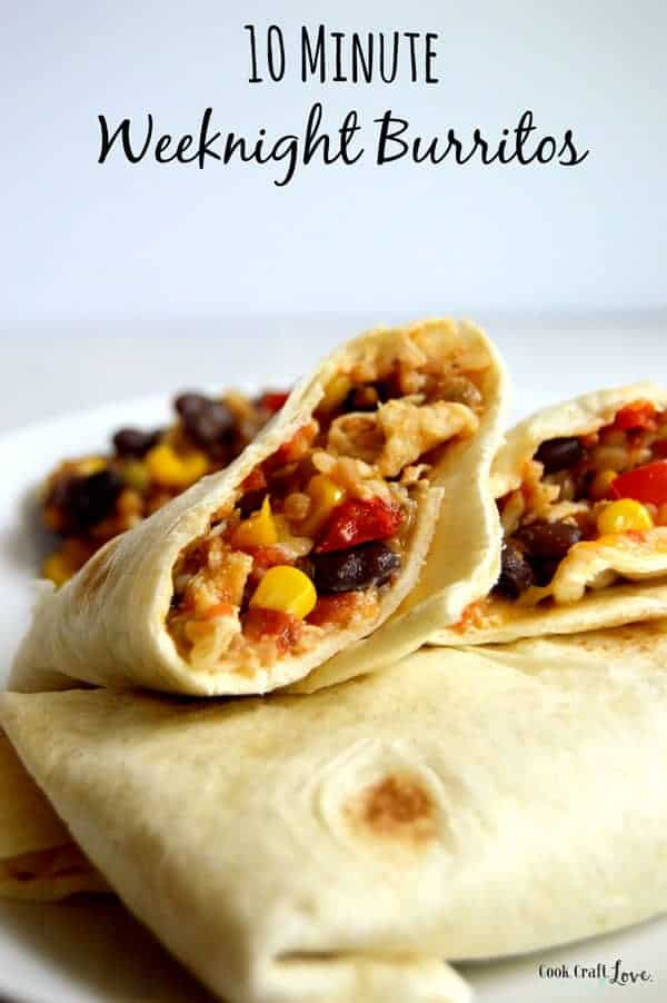 Get dinner on the table in less than ten minutes with these easy 10 minute weeknight burritos! Burritos so easy you won't believe you actually made them!