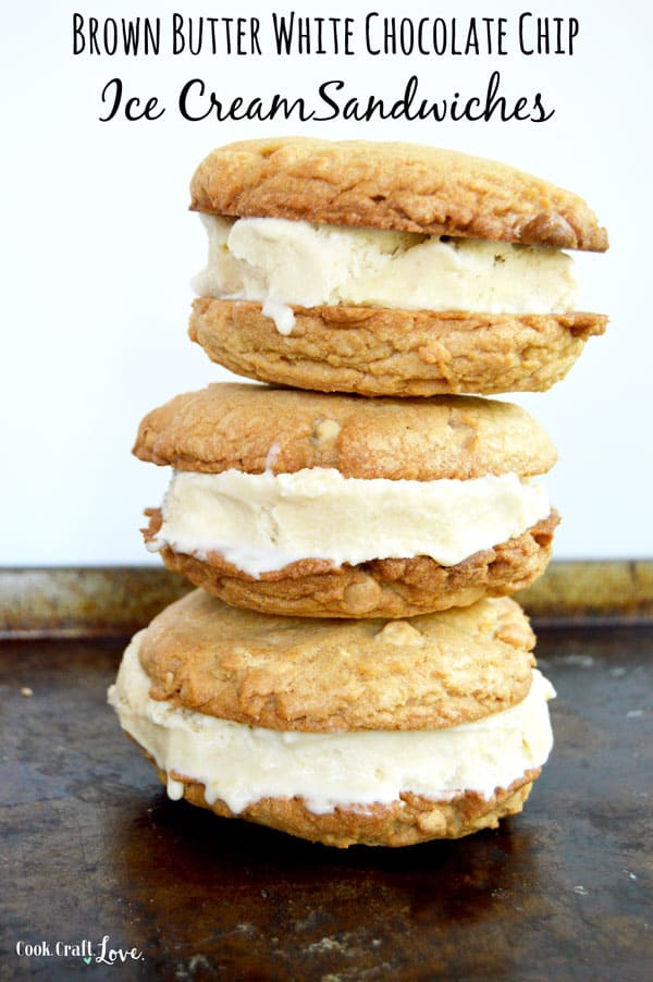 Brown butter takes these cookies to the next level as they wrap around sweet and creamy homemade ice cream for the best ice cream sandwiches you've ever had!