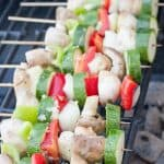 Garlic grilled veggie skewers are a fun and flavorful way to get your veggies in this summer! Enjoy this simple kabob recipe
