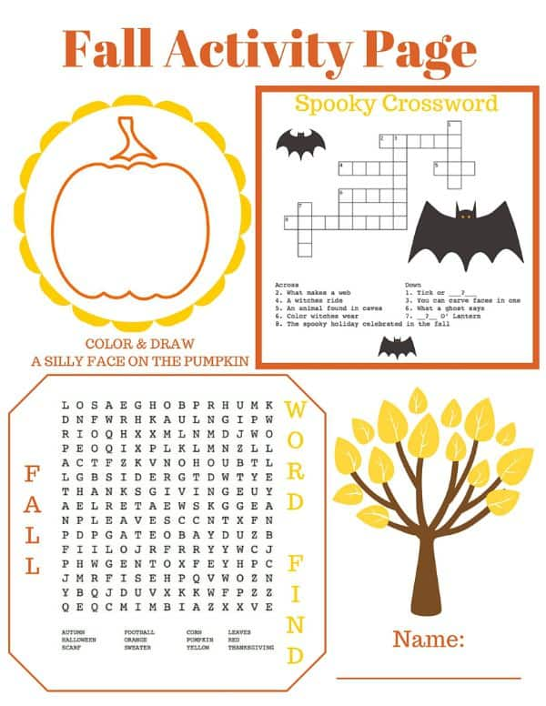 It is a graphic of Fall Crossword Puzzle Printable with summer