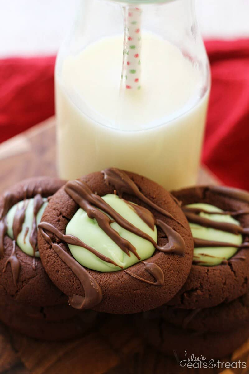 Chocolate-Mint-Fudge-Thumbprint-Cookies-Stack