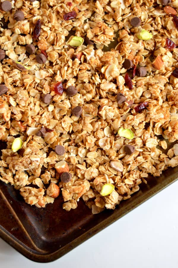 Pistachios, dark chocolate, and dried cranberries make this granola the breakfast that keeps on giving! Healthy AND delicious!