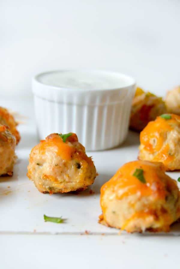 These cheesy cheddar chicken bites are the perfect appetizer for your Super Bowl party, March Madness, or any party in between!