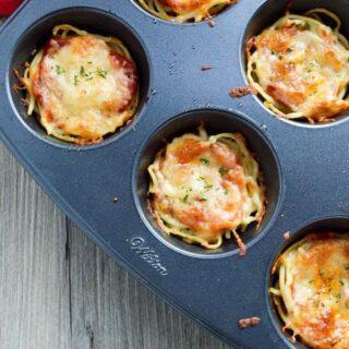 Mini Spaghetti Pies {Leftover Recipe}