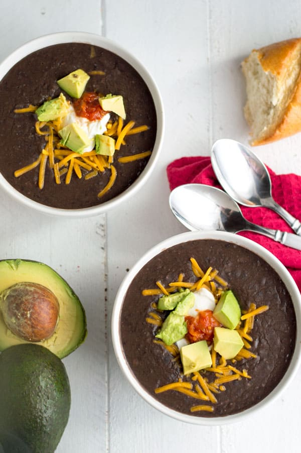 Black bean soup is a hearty and warming soup that's perfect to keep you warm on a cold winter day!