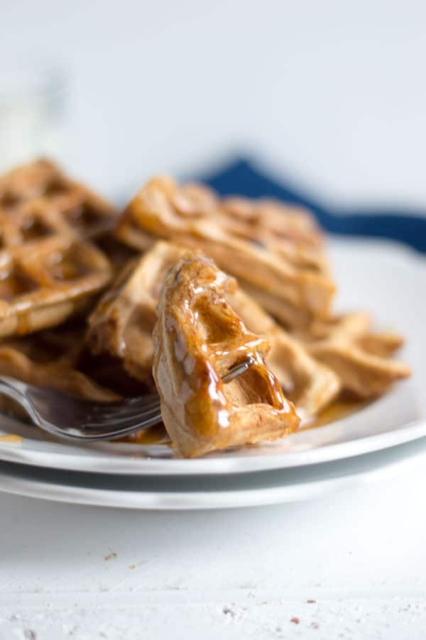 Cinnamon and brown sugar offer a sweet but subtle flavor that make these waffles perfect for breakfast or dessert!