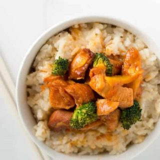 Crock pot orange chicken is a Chinese take out recipe you can make at home with just five ingredients and your slow cooker!