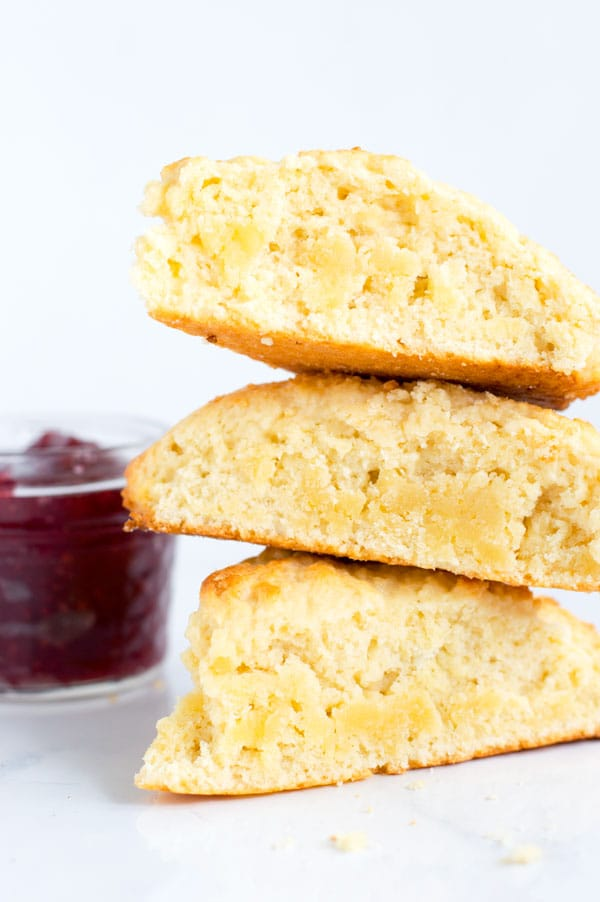 Old fashioned sour cream scones are perfect slathered with jam, butter, or clotted cream!