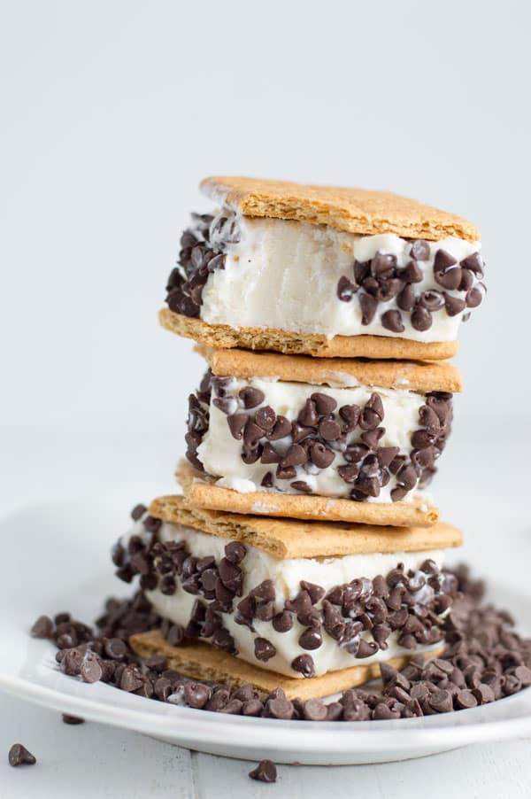 Get ready for summer with homemade frozen yogurt gone smores! These frozen yogurt smores sandwiches have all the flavors of your favorite summer treat!