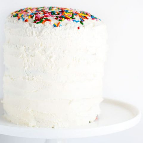 Funfetti cake is a childhood boxed favorite that now you can make from scratch! This cute six inch funfetti cake is sure to be a show stopper!