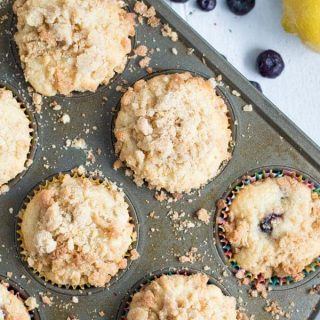 Tart lemon and sweet blueberries come together in these coffee cake muffins for a sweet muffin perfect for breakfast or brunch!