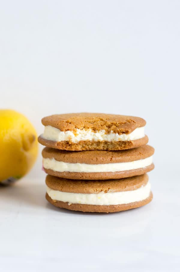 Soft sugar cookies are the perfect cookie for these sweet and tart lemon cheesecake sandwich cookies!