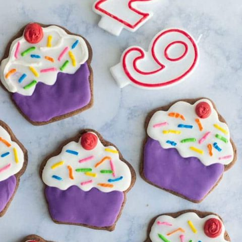 Soft chocolate sugar cookies are the perfect base for royal icing and a great way to celebrate national chocolate cupcake day!