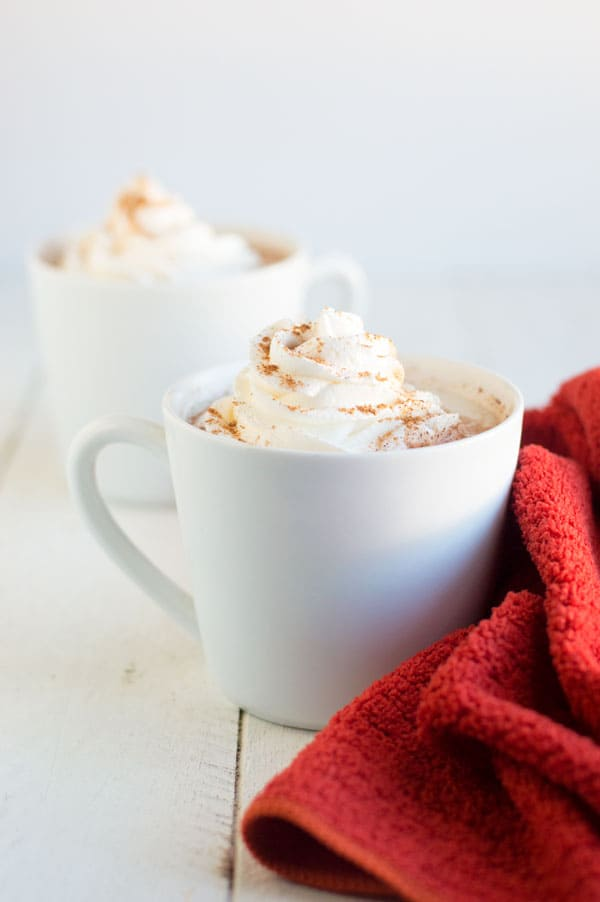 Cozy up this fall and winter with a comforting mug of pumpkin spice white hot chocolate!