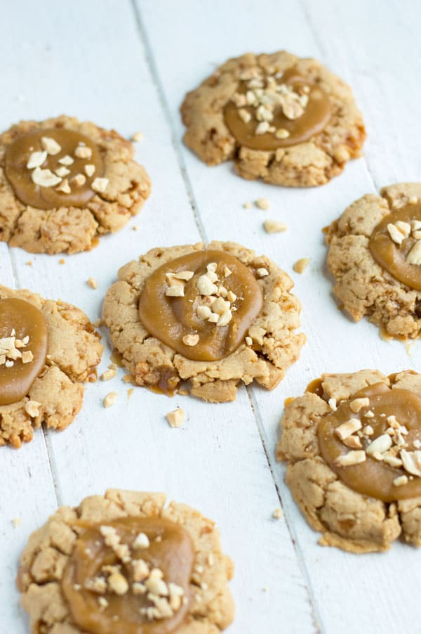 The crunch from these peanut brittle cookies can't be beat and they're a great way to use up leftover brittle from the holidays!