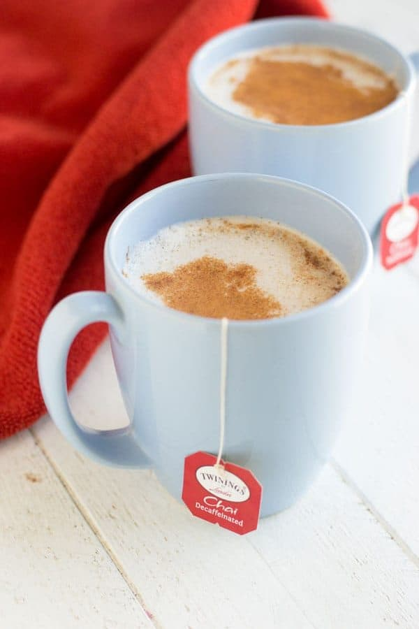 This homemade chai latte is the perfect alternative to a hot, comforting coffee house drink!