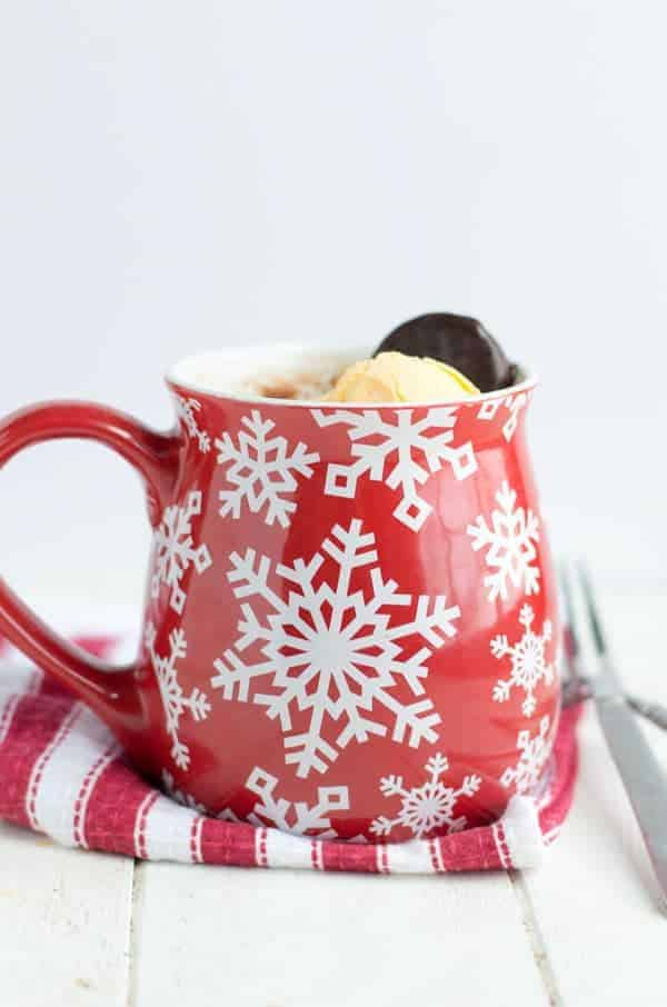 This peppermint chocolate mug cake is perfect for two and is made in the microwave in under 5 minutes!