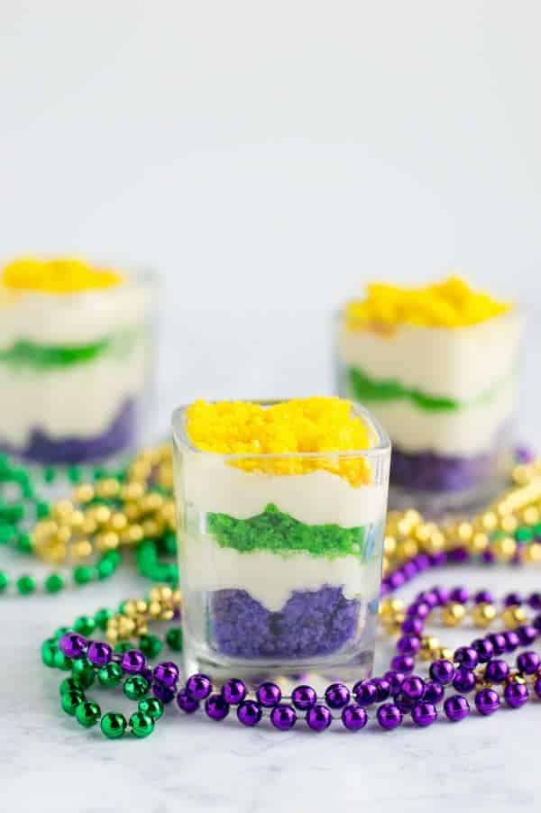 Mardi gras trifle is a fun layered dessert with the bright vibrant colors of Mardi Gras that's perfect for your next New Orleans bash!