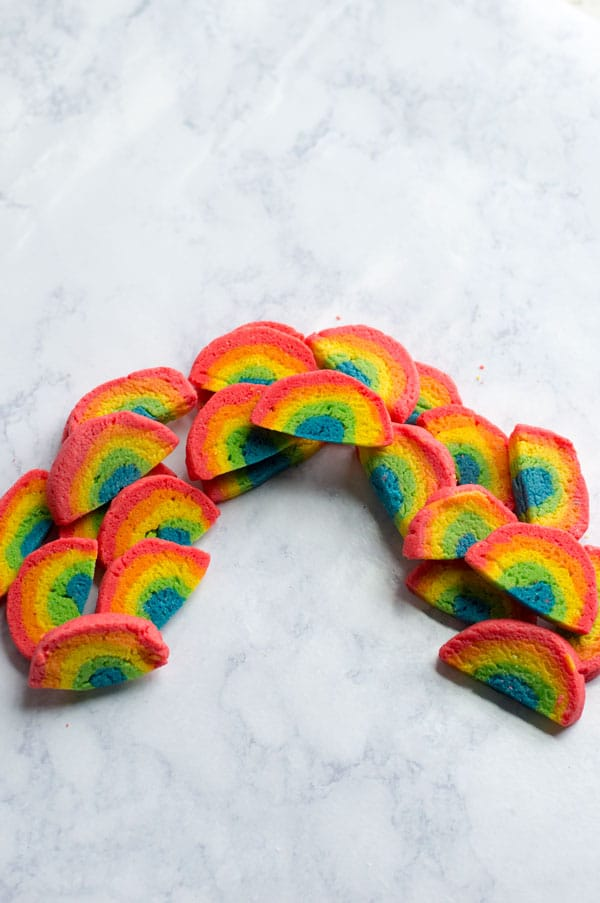 Slice And Bake Rainbow Sugar Cookies