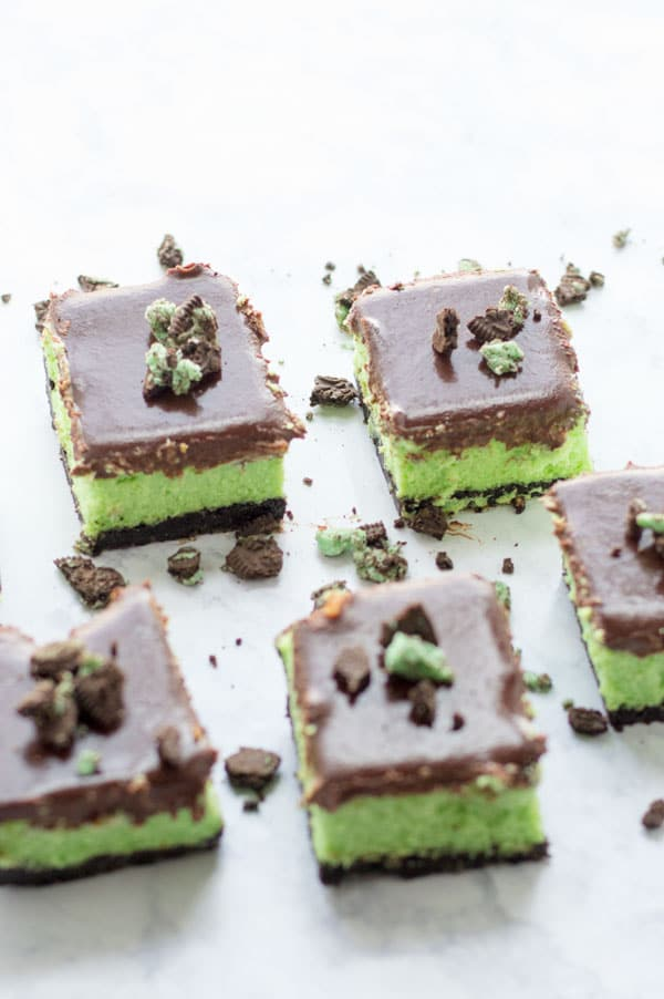 These mint oreo cheesecake bars take me back to my Girl Scout days. Except without the bowl cut and glasses as big as my face.