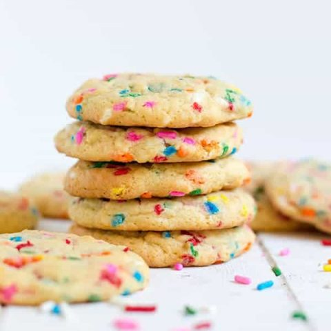 These funfetti pudding cookies are soft and chewy with the perfect amount of rainbow sprinkles. Although, let's be honest, you can never have too many sprinkles!