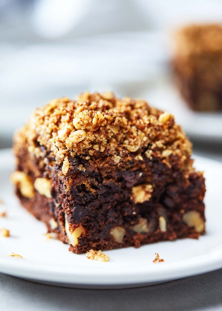 Chocolate Banana Coffee Cake with Walnut Streusel